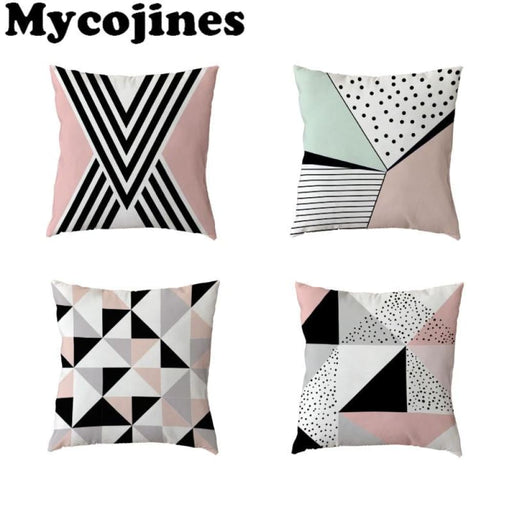 Stylish Cushion Cover 45X45Cm Cross Pink Geometric Stripe Love Diamond Home Bedroom Sofa Decor Polyester Peach Skin Pillow Cases - Home