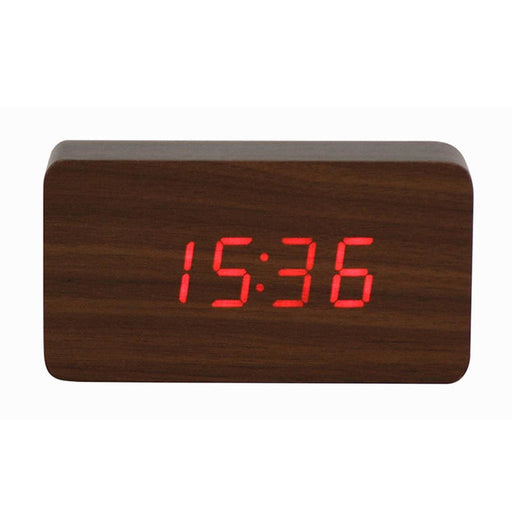 Digital Alarm Clocks Temperature Sounds Control LED Electronic Desktop Digital Alarm Clock Wood Student Electronic Alarm Clock(Wood Red)