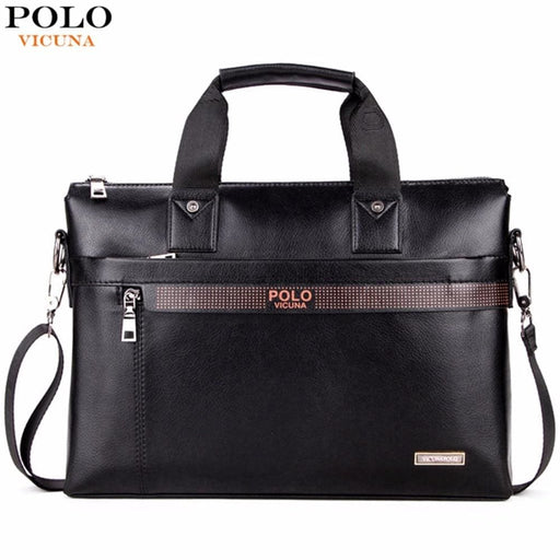 Vicuna Polo Top Sell Fashion Simple Dot Famous Brand Business Men Briefcase Bag Leather Laptop Bag Casual Man Bag Shoulder Bags - Computer