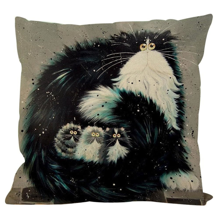 Vintage Cat Dog Cotton Pillow Case Sofa Waist Throw Cushion Cover Home Decor - Black / A - Home Decor Pillows