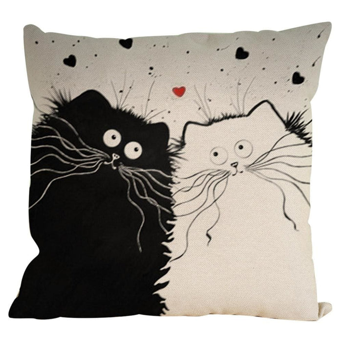 Vintage Cat Dog Cotton Pillow Case Sofa Waist Throw Cushion Cover Home Decor - Black / B - Home Decor Pillows