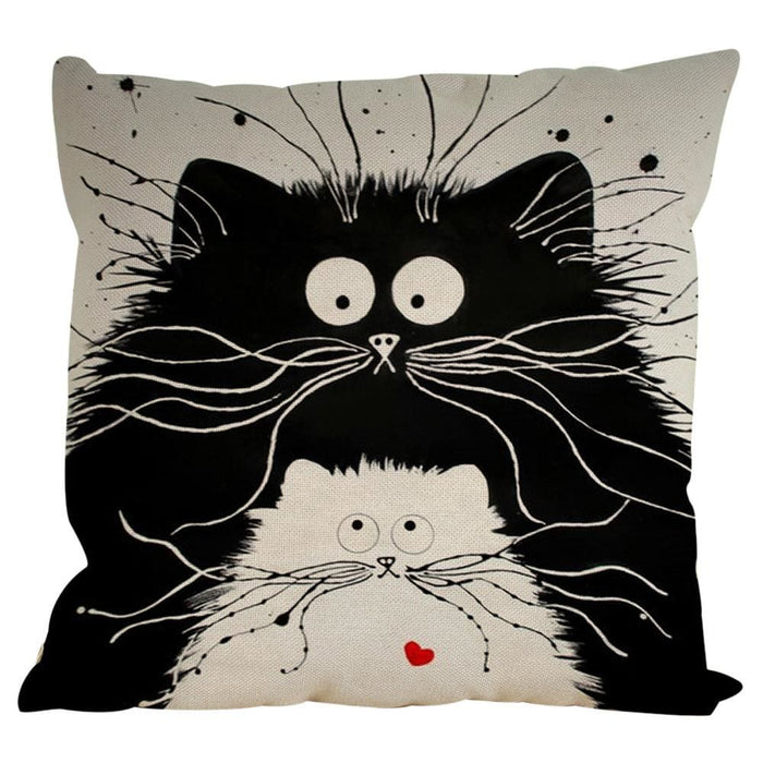 Vintage Cat Dog Cotton Pillow Case Sofa Waist Throw Cushion Cover Home Decor - Black / C - Home Decor Pillows