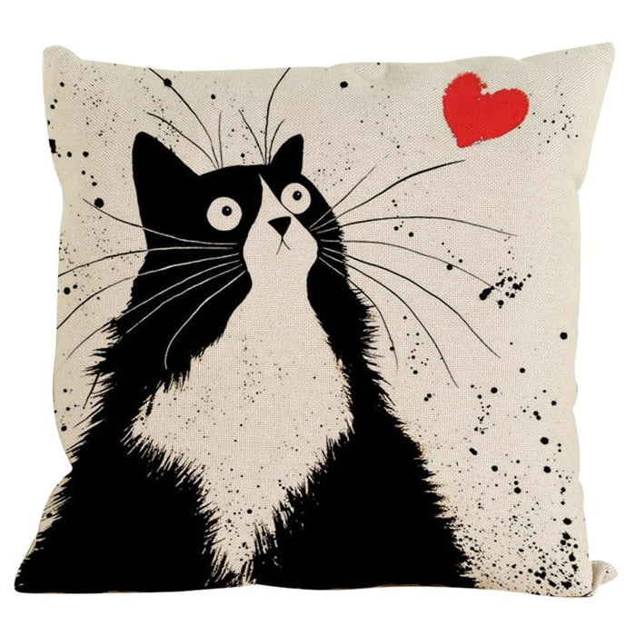 Vintage Cat Dog Cotton Pillow Case Sofa Waist Throw Cushion Cover Home Decor - Black / D - Home Decor Pillows