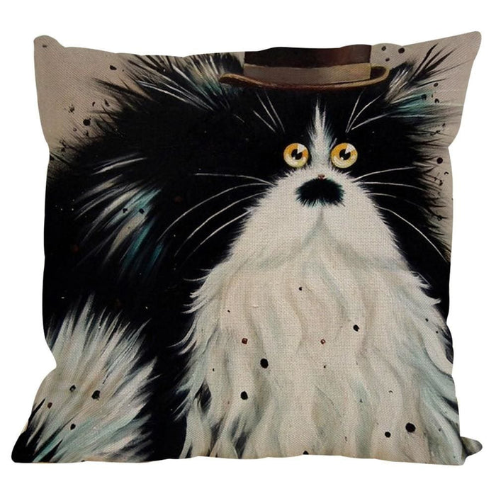 Vintage Cat Dog Cotton Pillow Case Sofa Waist Throw Cushion Cover Home Decor - Black / E - Home Decor Pillows