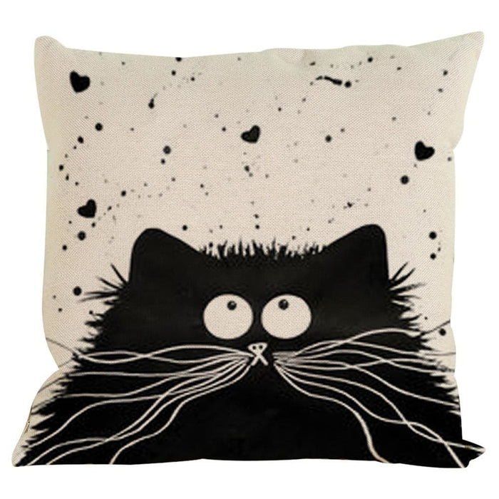 Vintage Cat Dog Cotton Pillow Case Sofa Waist Throw Cushion Cover Home Decor - Black / F - Home Decor Pillows