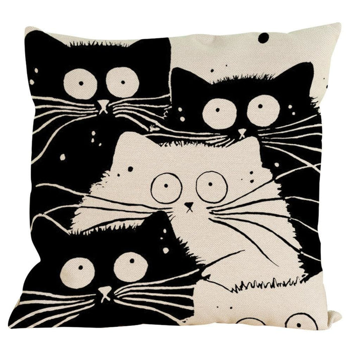 Vintage Cat Dog Cotton Pillow Case Sofa Waist Throw Cushion Cover Home Decor - Black / G - Home Decor Pillows
