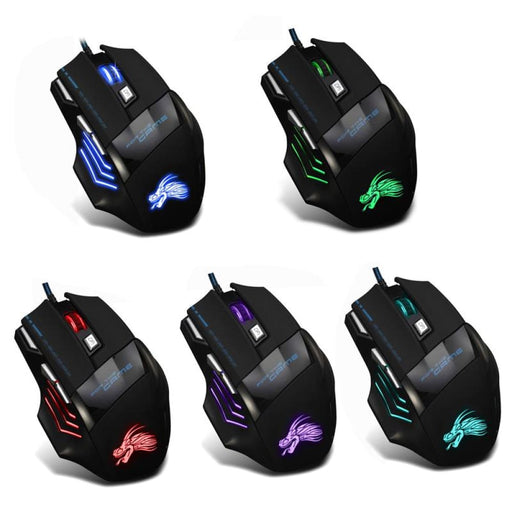 Wired Gaming Mouse Professional 7 Buttons Adjustable 5500Dpi Usb Cable Led Optical Gamer Mouse For Computer Laptop Pc Mice Black - Mice