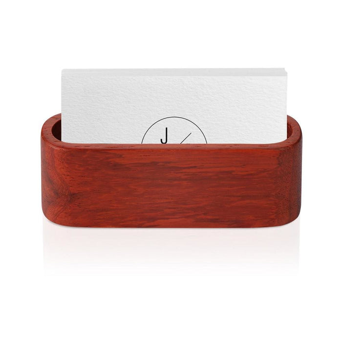 Wooden Business Card Holder Single Compartment Name Card Display Stand Shelf For Desk Desktop Countertop - Office Décor