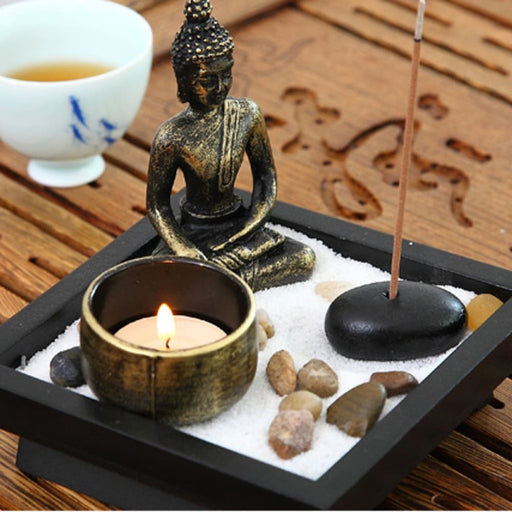 Zen Garden Sand Kit Buddha Tealight Holder Relax Spiritural Meditation Decor - Zen Garden