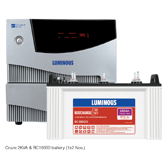 Luminous Cruze+ 2 KVA + Red Charge RC 15000