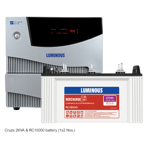 Luminous Cruze 2KVA + RC 15000 120 Ah - 36* months Tubular Battery