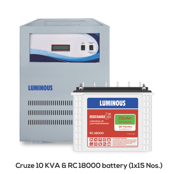 Cruze 10 KVA + RC 18000 150 Ah - 36* months warranty Battery - Luminous eShop