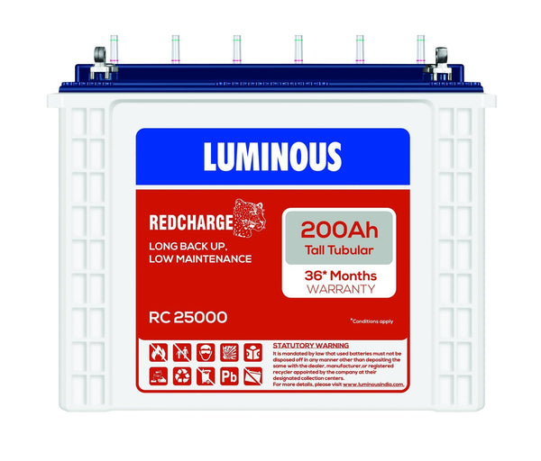 Luminous RC 25000 I 200Ah - 36* Months Warranty Tubular Battery - Luminous eShop