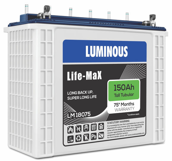 Battery - Luminous Life Max LM 18075 | 150Ah - 60 Months Replacement Battery