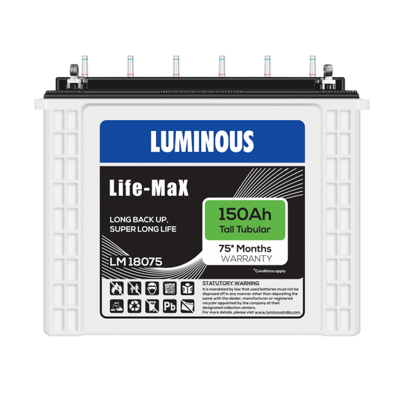 Luminous Life Max LM 18075 | 150Ah - 60 Months replacement Battery
