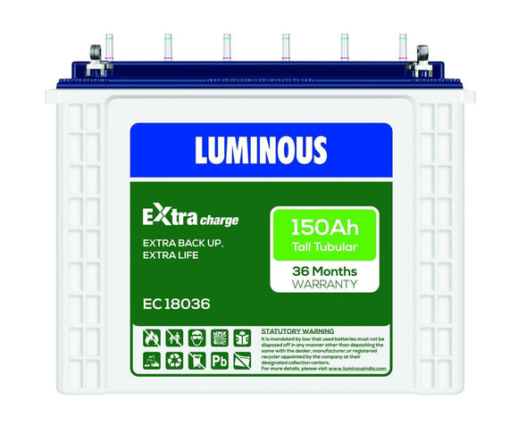 Tubular Battery - Luminous EC 18036 I 150Ah -36 Months Warranty Tubular Battery