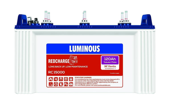 Tubular Battery - Luminous RC 15000 I 120Ah - 36* Months Warranty Tubular Battery