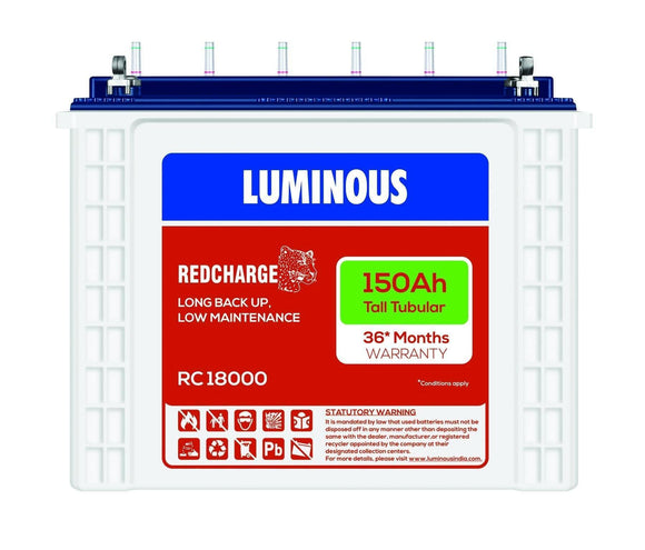 Tubular Battery - Luminous RC 18000 I 150Ah - 36* Months Warranty Tubular Battery