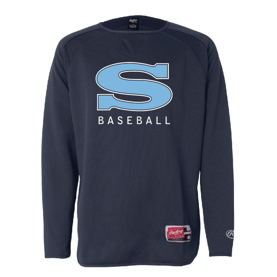 GRIZZLY BASESBALL – LS Flatback Mesh Fleece Pullover (Navy)
