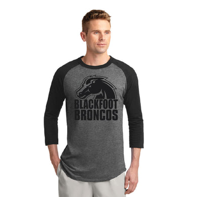 BLACKFOOT HS – Bronco Colorblock Raglan Jersey Tee (Black/Dark Heather Grey)