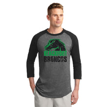 Load image into Gallery viewer, BLACKFOOT HS – Two-Color Bronco Colorblock Raglan Jersey Tee (Black/Dark Heather Grey)