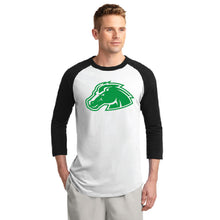 Load image into Gallery viewer, BLACKFOOT HS – Green Bronco Colorblock Raglan Jersey (Black/White)