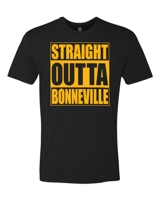 BONNEVILLE HS – Next Level Fitted Crew Tee – Straight Outta Bonneville (Gold/Black)