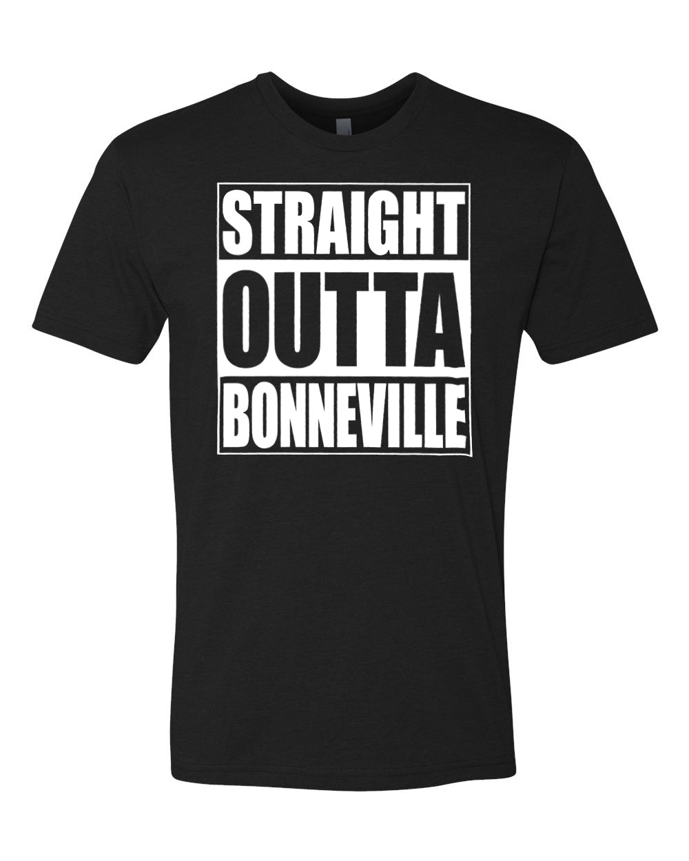 BONNEVILLE HS – Next Level Fitted Crew Tee – Straight Outta Bonneville (White/Black)