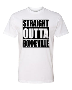BONNEVILLE HS – Next Level Fitted Crew Tee – Straight Outta Bonneville (Black/White)