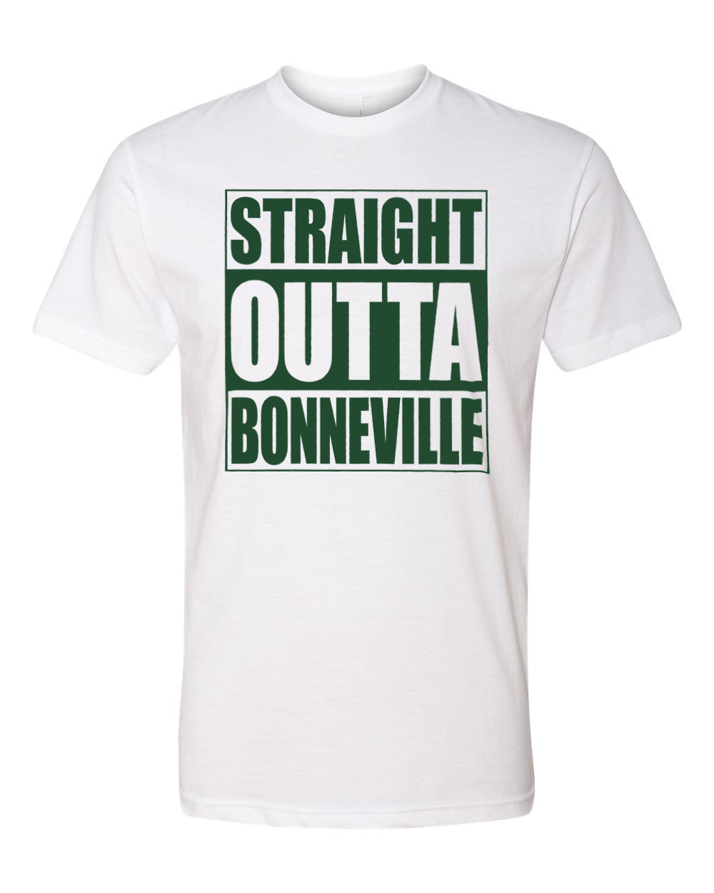 BONNEVILLE HS – Next Level Fitted Crew Tee – Straight Outta Bonneville (Dark Green/White)