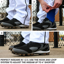 Load image into Gallery viewer, SKYLINE HS BASEBALL –  Triple Crown Open Bottom White Pant w/ Navy Piping