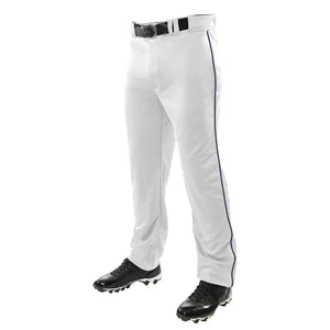 SKYLINE HS BASEBALL –  Triple Crown Open Bottom White Pant w/ Navy Piping