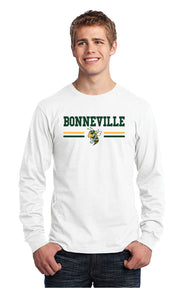 BONNEVILLE HS – Long Sleeve Core Cotton Tee with Bee (White)