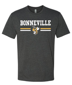 BONNEVILLE HS – Next Level Fitted Crew Tee with Bee (Charcoal)