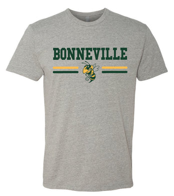 BONNEVILLE HS – Next Level Fitted Crew Tee with Bee (Dark Heather Grey)