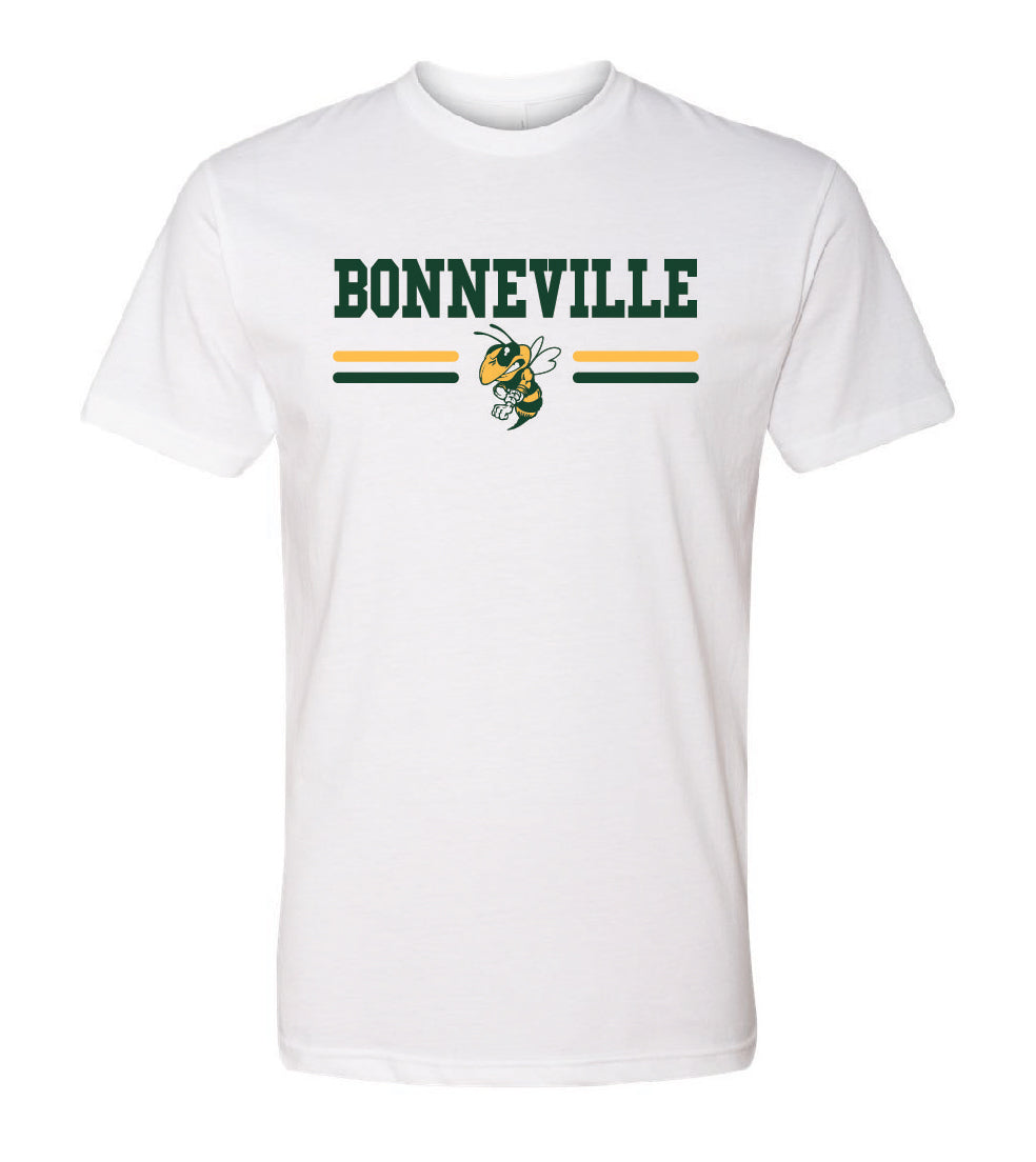 BONNEVILLE HS – Next Level Fitted Crew Tee with Bee (White)