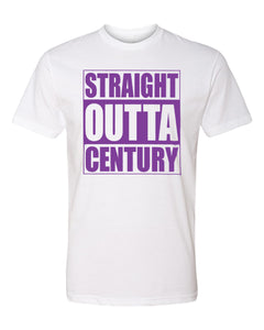 CENTURY HS – Next Level Fitted Crew Tee – Straight Outta Century (Purple/White)