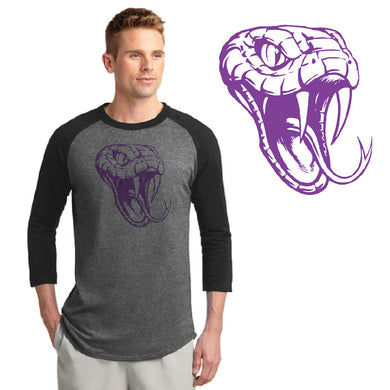 CENTURY HS – Purple D-Back Head Colorblock Raglan Jersey (Black/Dark Heather Grey)