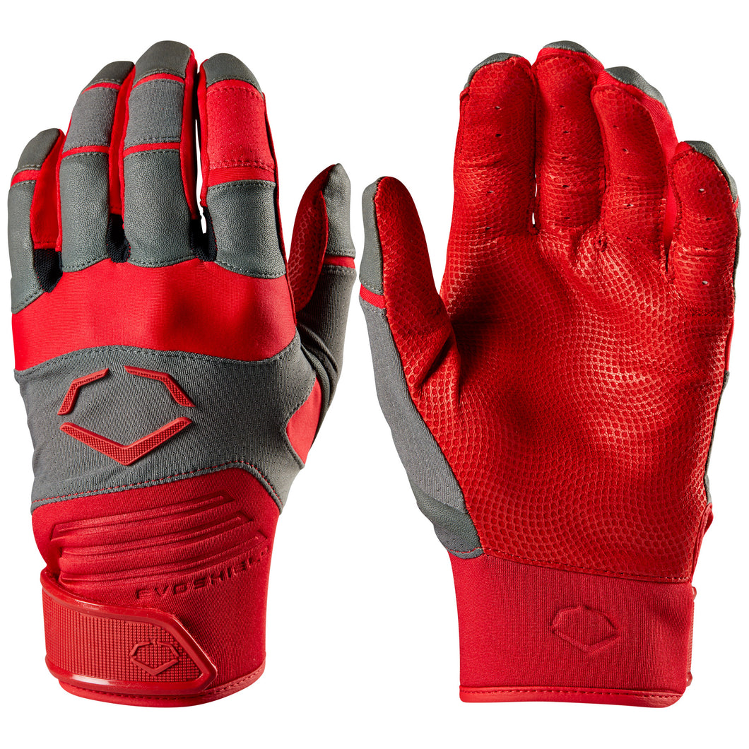 MADCATS BASEBALL – EvoShield Aggressor Adult Baseball/Softball Batting Gloves (Red/Grey)