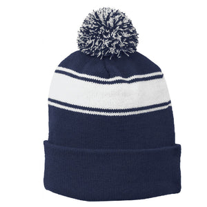 GRIZZ GRID KID – Stripe Pom Pom Beanie (Navy-White)