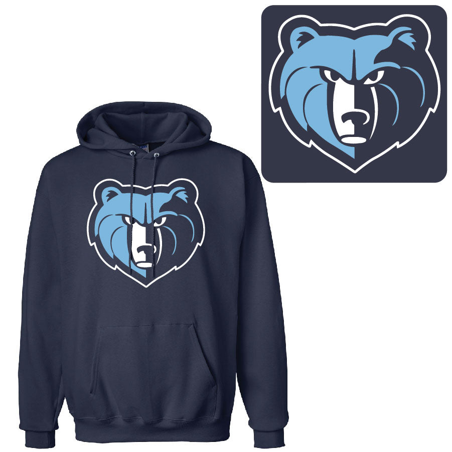 SKYLINE HS BASEBALL – Detailed Grizz Head Cotton Pullover Hooded Sweatshirt (Navy)