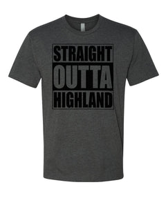 HIGHLAND HS – Next Level Fitted Crew Tee – Straight Outta Highland (Black/Charcoal)