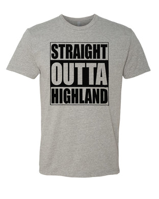 HIGHLAND HS – Next Level Fitted Crew Tee – Straight Outta Highland (Black/Heather Grey)
