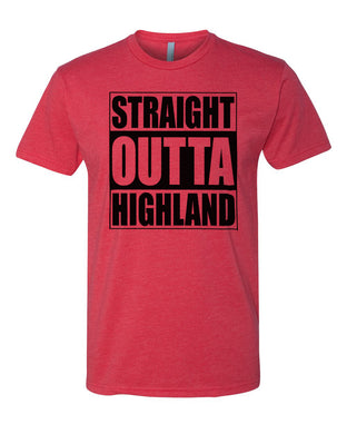 HIGHLAND HS – Next Level Fitted Crew Tee – Straight Outta Highland (Black/Red)