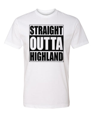 HIGHLAND HS – Next Level Fitted Crew Tee – Straight Outta Highland (Black/White)
