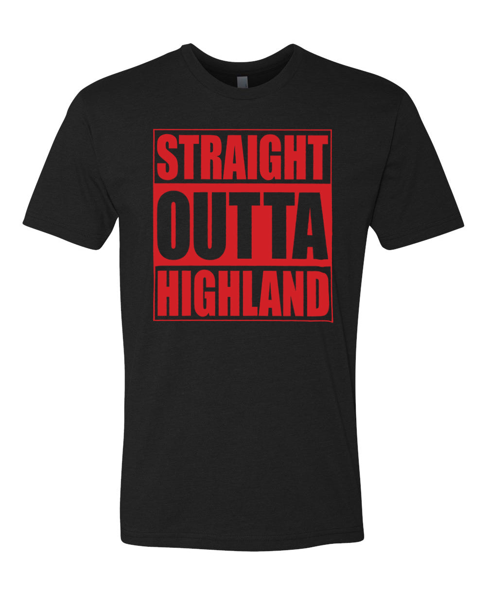 HIGHLAND HS – Next Level Fitted Crew Tee – Straight Outta Highland (Red/Black)