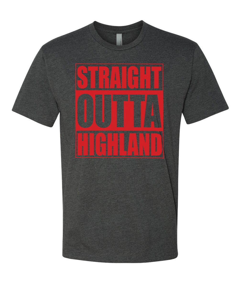 HIGHLAND HS – Next Level Fitted Crew Tee – Straight Outta Highland (Red/Charcoal)