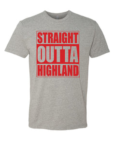 HIGHLAND HS – Next Level Fitted Crew Tee – Straight Outta Highland (Red/Heather Grey)