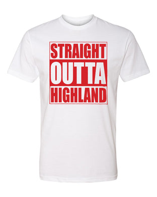 HIGHLAND HS – Next Level Fitted Crew Tee – Straight Outta Highland (Red/White)