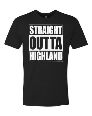 HIGHLAND HS – Next Level Fitted Crew Tee – Straight Outta Highland (White/Black)